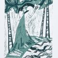 BIÉLORUSSIE - Semchyshyn Alena : Autumn night Dream, Linogravure, 10.9x15.8 cm, 5/10, 2012
