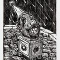 BRÉSIL - SASSO Michaël : Rainy head on bumpy road, Xylogravure, 22x33 cm, 2/100, 2013